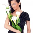 Beautiful lady with flowers — Stock Photo #5938508