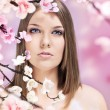 Woman and spring — Stock Photo