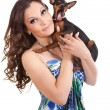 Stock Photo: Beautiful girl with dog