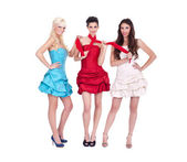 Three trendy girls in dresses — Stock Photo