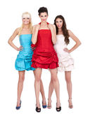 Group of girls in dresses — Foto Stock