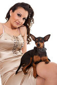 Fashion woman with dog shoulder — Stock Photo