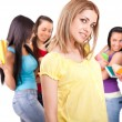 Girl and a group of university students — Stock Photo #6320029