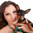 Woman with her puppy — Stock Photo #6320497