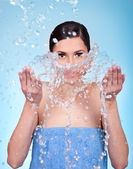 Washing face — Stock Photo