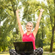 Success girl with laptop — Stock Photo #6530246