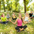 Yoga in park — Stock fotografie