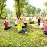 Yoga in park — Stock Photo