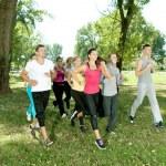 Jogging in park — Stock Photo