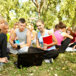 Students learning in park, teamwork — Stock Photo