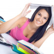Student girl with book on head — Stock Photo #6628734