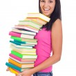 Student girl with lot of books — Stock Photo #6628749