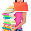 Student with lot of book in hands — Stock Photo #6628758