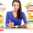Студент девушка написания — Стоковое фото
