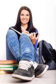 Söt student på paus — Stockfoto