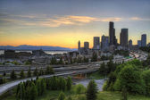 Seattle Skyline at Sunset — Stock Photo
