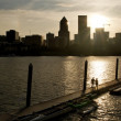 Stock Photo: Strolling into Sunset on Willamette River Boat Ramp