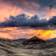 Stock Photo: Painted Hills in Oregon Panorama at Sunset