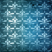 Blue grungy damask pattern — Stock Photo