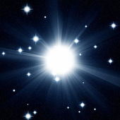 Illustrated star in night sky — Stock Photo