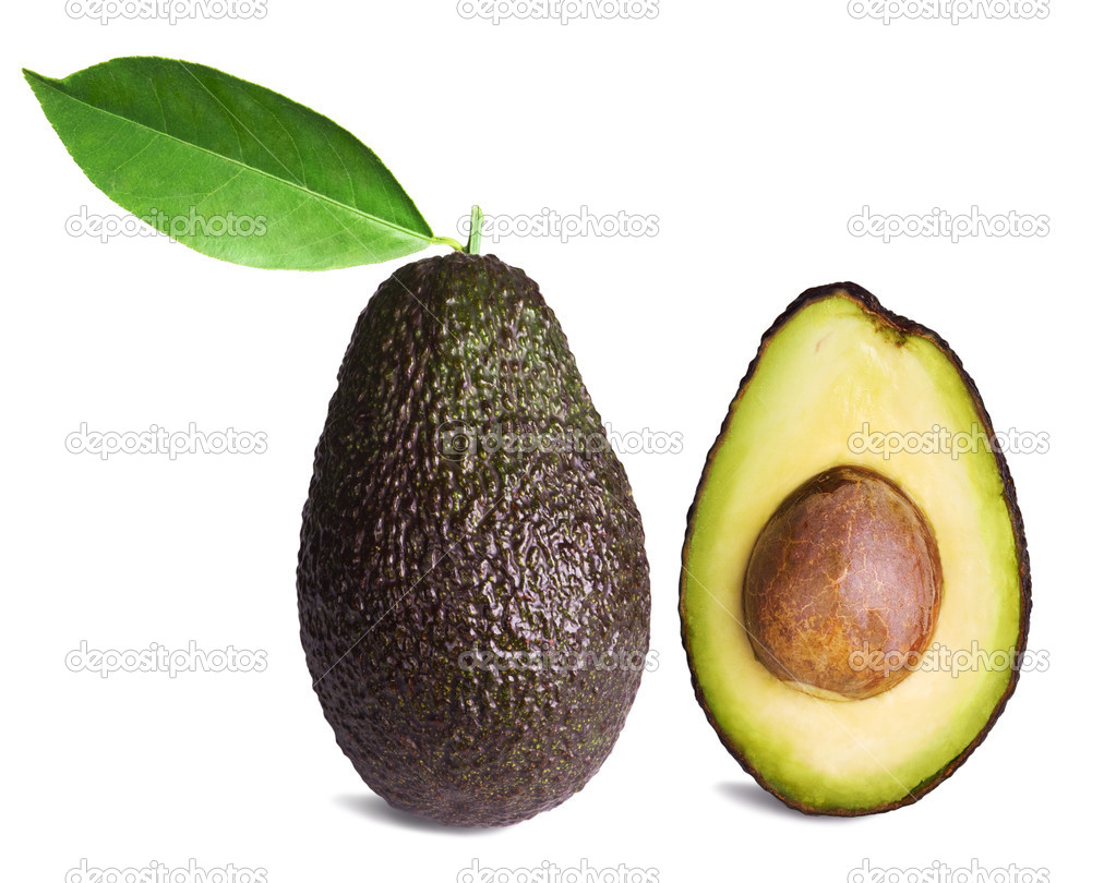 Whole and half avocados with leaf isolated on white background  Stock Photo #5464570
