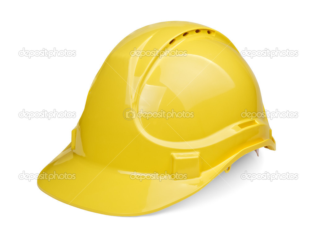 Yellow construction and industrial helmet isolated on white background  Stock Photo #5992312