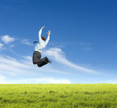 Man jumping on meadow — Stock Photo