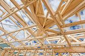 Nový domov stavební rámování — Stock fotografie
