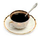 Bir plaka üzerinde kahve — Stok fotoğraf