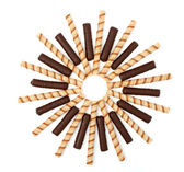 Vanilla and chocolate sticks with a cream, isolated — Stock Photo