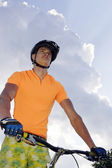 Bicycle and men — Stock Photo