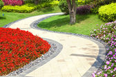 Beautiful summer garden with a walkway winding its way through — Stock Photo