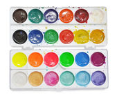Closeup of messy, used water-color paint-box. — Stock Photo
