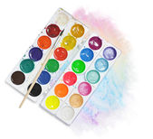 Water colors and brush — Stock Photo