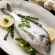 Gilthead over dish ready to cooking — Stock Photo #6387553