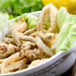 Stock Photo: Fried fish squid and shrimp with green salad