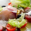 Swordfish carpaccio with sliced tomatoes — Stock Photo #6393501