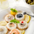 Canapes appetizer — Stock Photo
