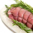Stock Photo: Raw veal rolled up