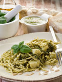 Pesto trofie typical genoa recipe-trofie al pesto — Stock Photo