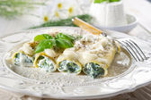 Cannelloni ricotta spinach — Stock Photo