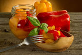Pepper preserved on bowl — Stockfoto