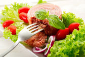 Canned meat with salad — Stock Photo