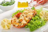 Lobster with salad - aragosta e insalata — Stock Photo