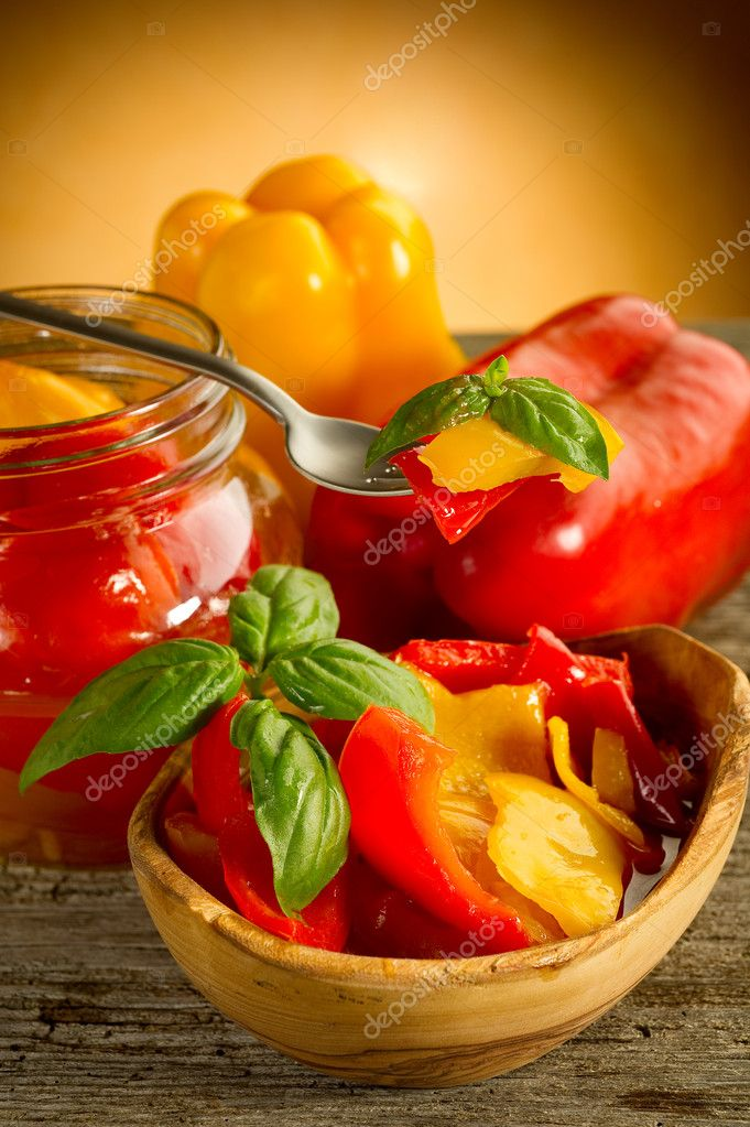 Pepper preserved on bowl   Stock Photo #6396411