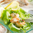Scallop with green salad — Stock Photo