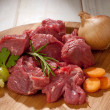 Raw stew meat with ingredients — Stock Photo #6401464