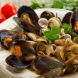 Soup with mussel and clam - Stock Photo