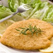 Cutlet breaded with salad on dish — Stock Photo