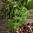 Aromatic herbs and pepper-erbe aromatiche e pepe - Stock Photo